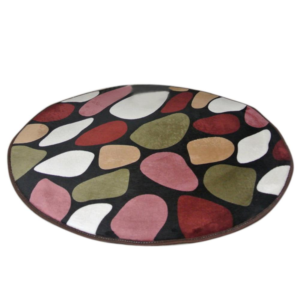 Multipurpose Exquisite Round Coral Velvet Carpet Rug Non