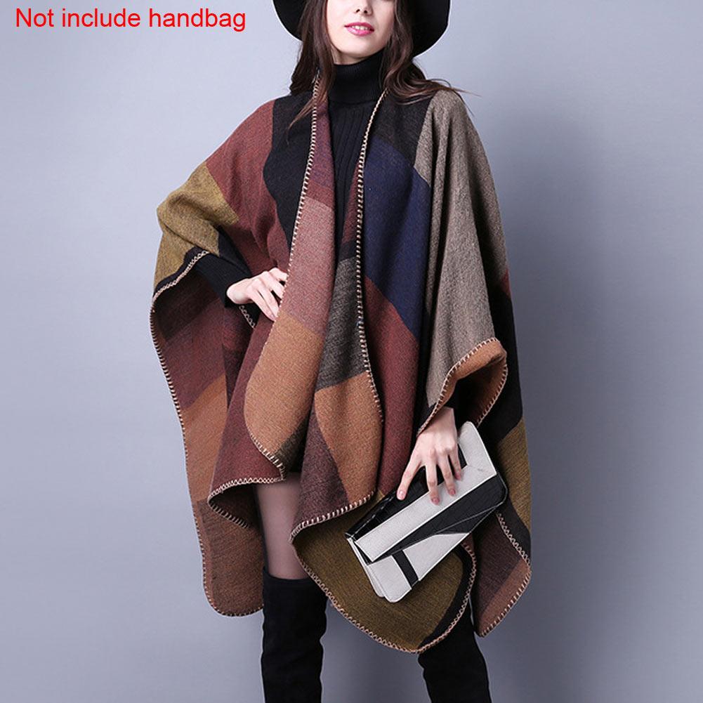 Women Autumn Winter Knitted Tartan Blanket Cardigans Plaid ...