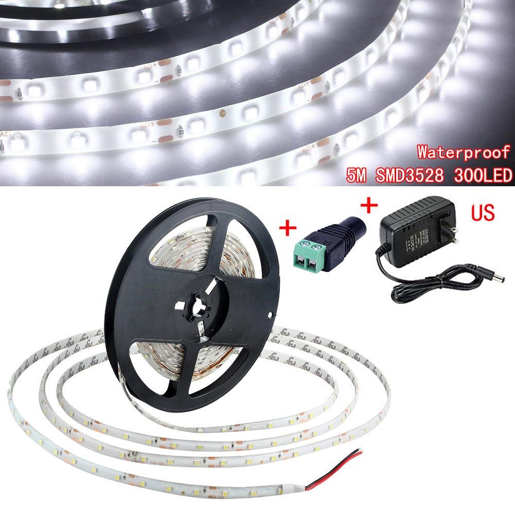 5M SMD 3528 Waterproof 300 LED Flexible Strip Lights Kit DC 12V Power Suppl