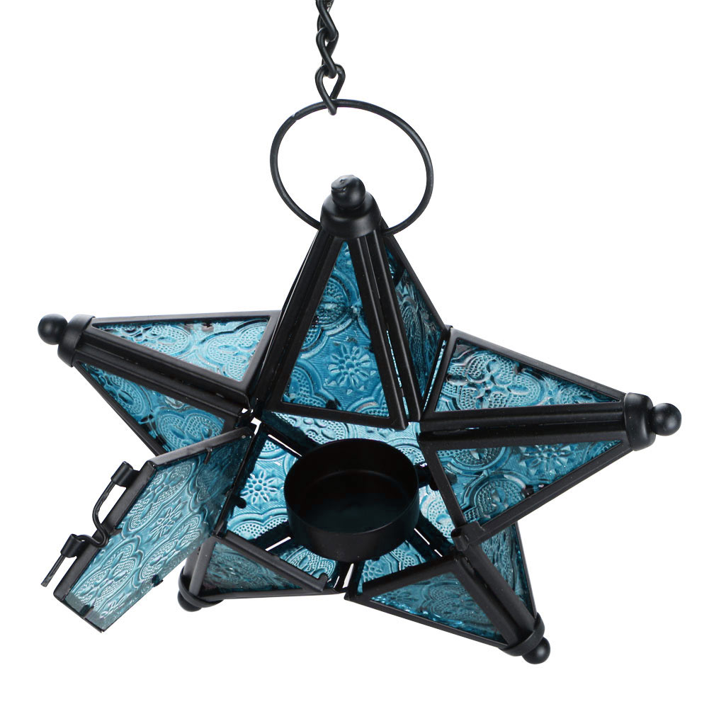 Light Stand Organizer: MOROCCAN STYLE STAR HANGING GLASS LANTERN TEA LIGHT HOLDER
