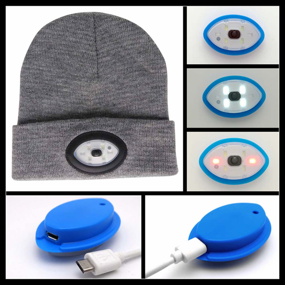 6 LED Beanie Knitted Hat/Cap USB Rechargeable Winter Warm Beanie Hat Headlamp