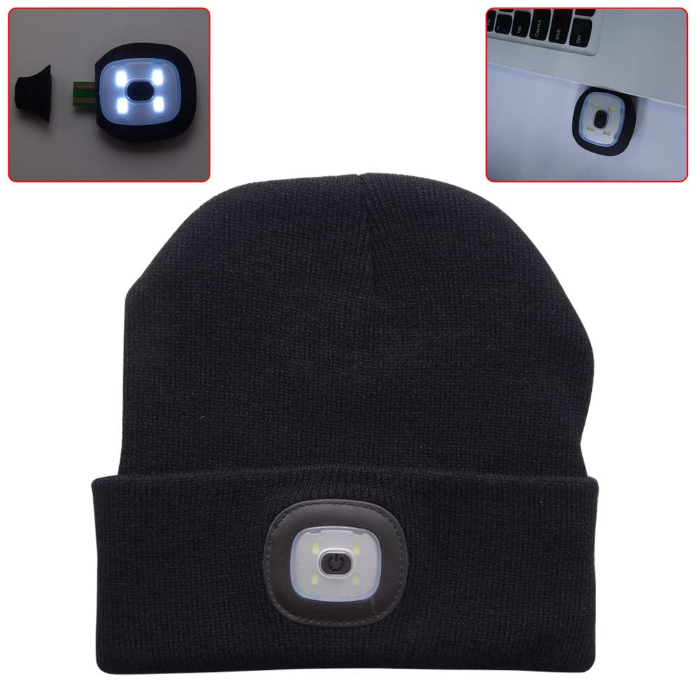 4led Knit Hat Usb Rechargeable Hands Free Flashlight Cap