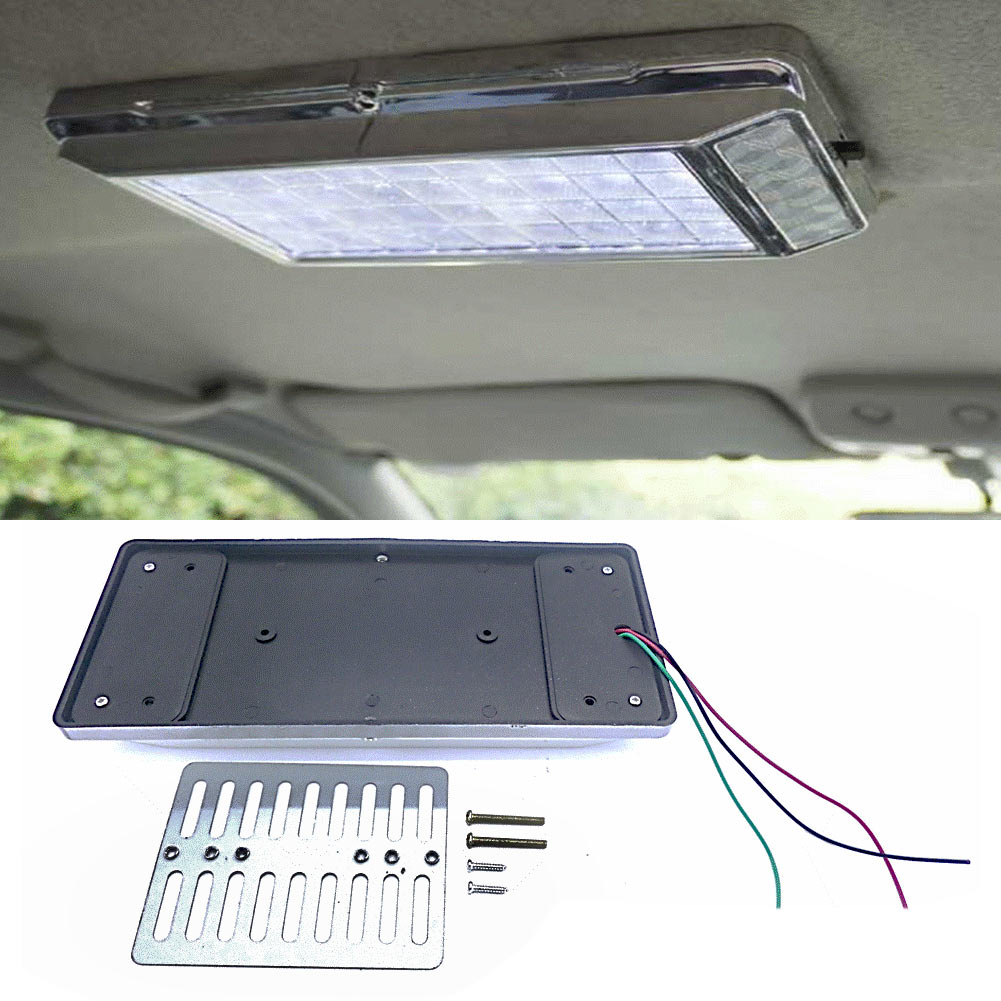 white 36 led car vehicle dome roof ceiling interior light lamp dc 12v silver new ebay. Black Bedroom Furniture Sets. Home Design Ideas