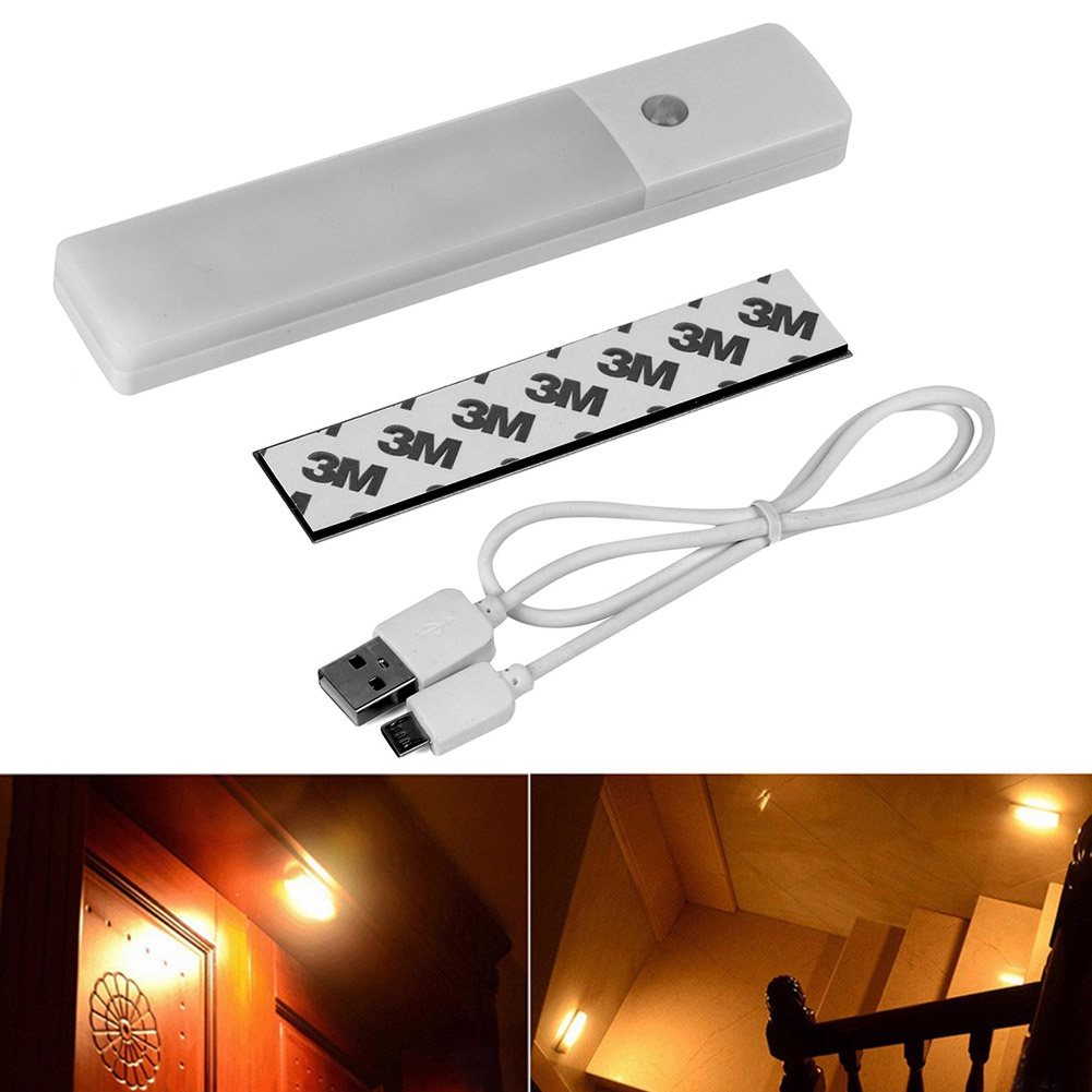 Wall Lamp With Usb : 6 LED USB Rechargeable Wireless Motion Sensor Nightlight Cabinet Wall Lamp Light eBay