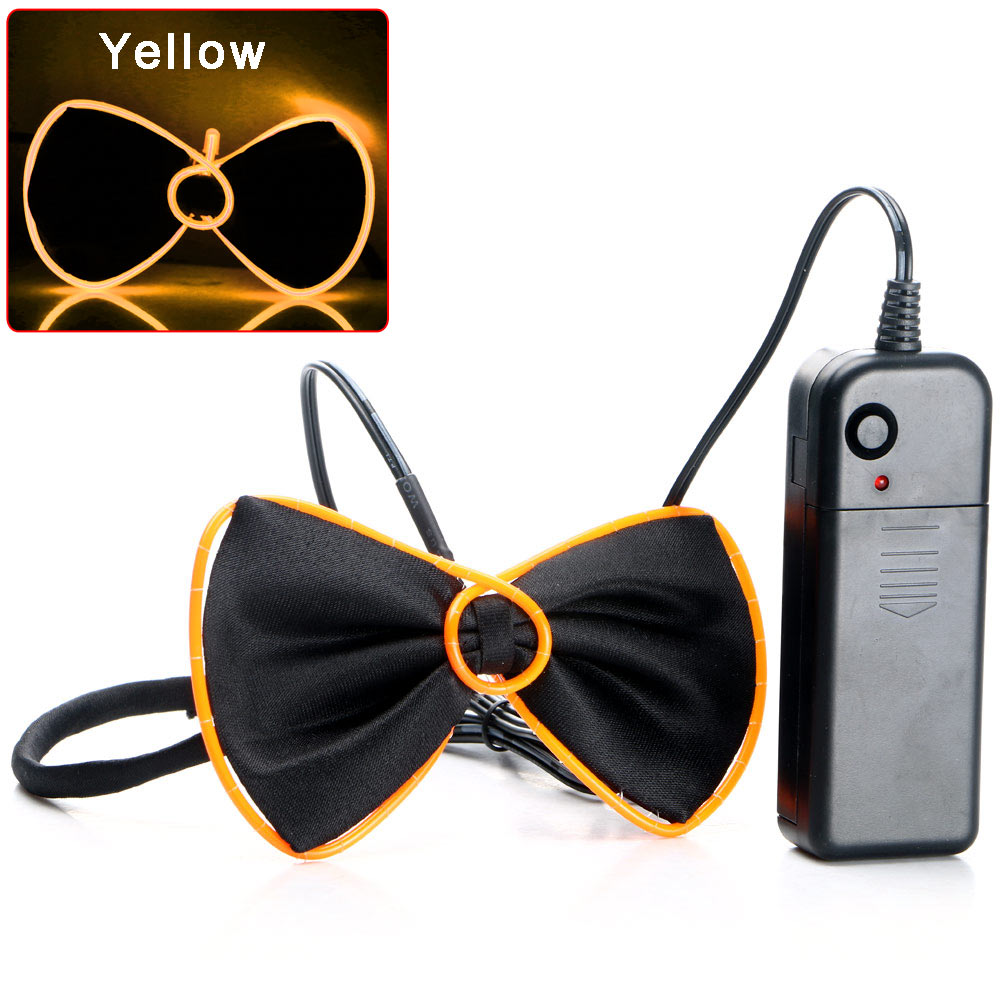 LED Fashion Luminous Light Up EL Wire Bow Tie Halloween Party Rave ...