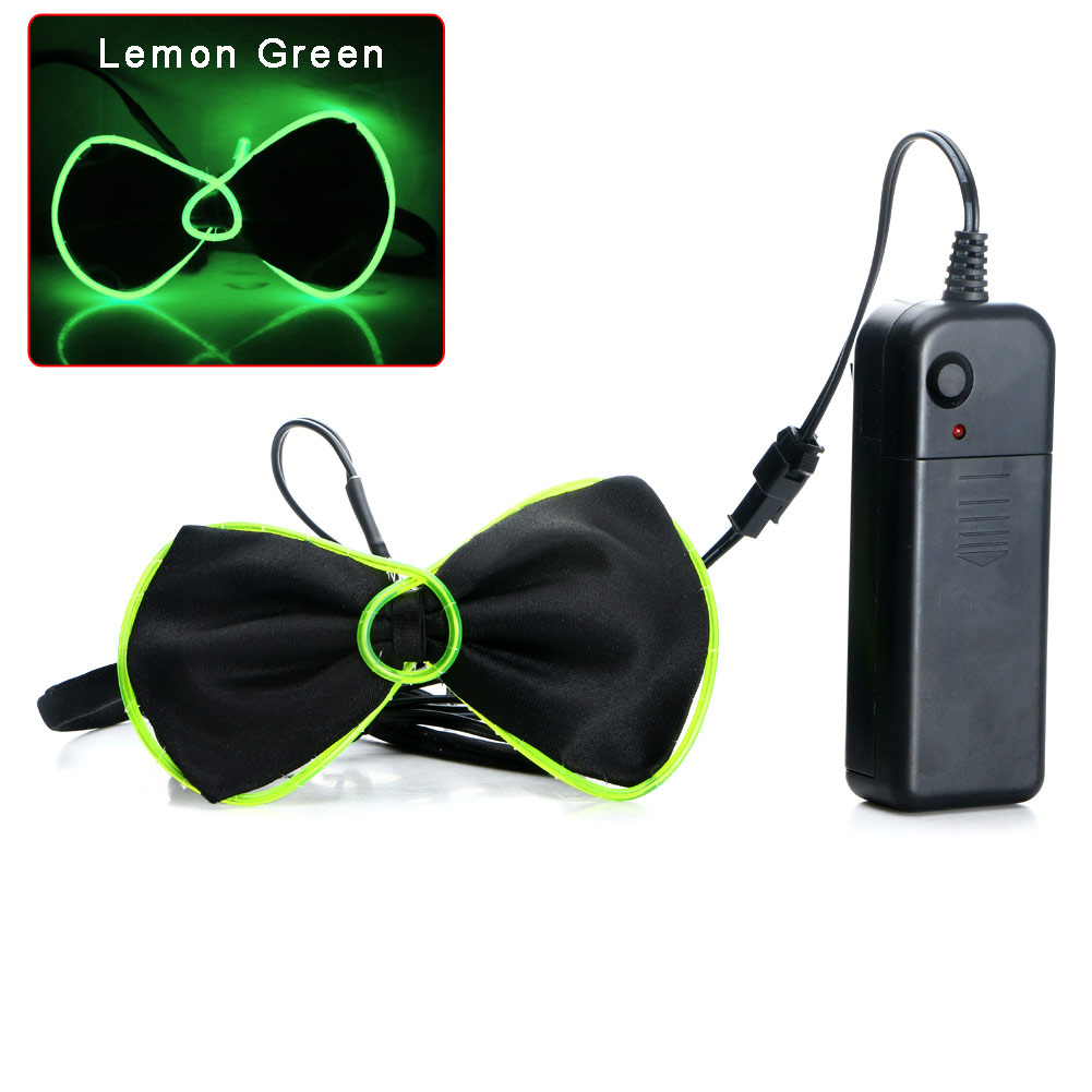 Flashing Light Up El Wire Bow Tie Necktie LED Mens Party Lights ...