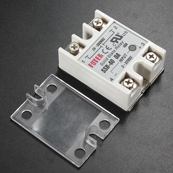 Solid State Relay SSR-40DA 3-32VDC 40A/250V Output 24-380VAC w/ Cover
