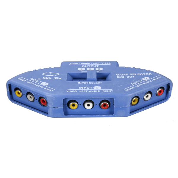 Blue 3 Way Port Audio Video AV RCA Switch Selector Box Splitter With 3 RCA Cable