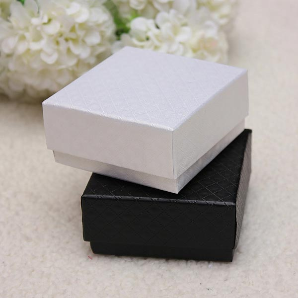 Luxury Glossy Gift Box Ring Earrings Jewelry Case Black White