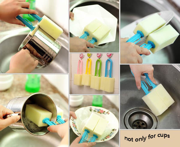 Double Sided Sponge Cleaning Brush Sponge Cup Bottle Cleaning Brush