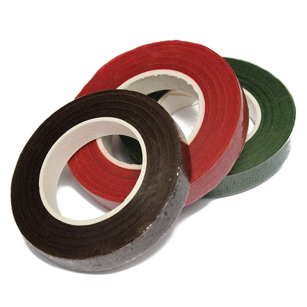 Floral Resealable Stretchy Florist Tape Green/Coffee/Red