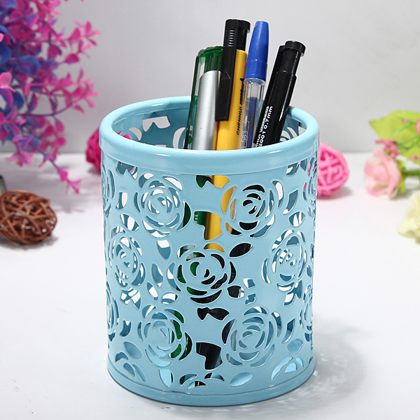 Hollow Rose Flower Pattern Cylinder Pen Pencil Holder Container