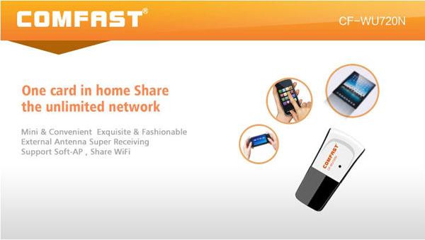 COMFAST CF-WU720N 150M Mini USB Network Card Wifi Adapter 802.11n/g/b