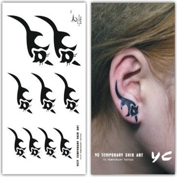 Body Art Sticker Waterproof Temporary Ear Cartoon Cat Tattoo Stickers