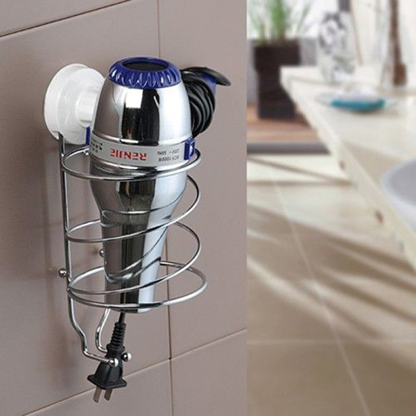 Bathroom Stainless Steel Hair Dryer Rack Suction Cup Blower Tube Shelf