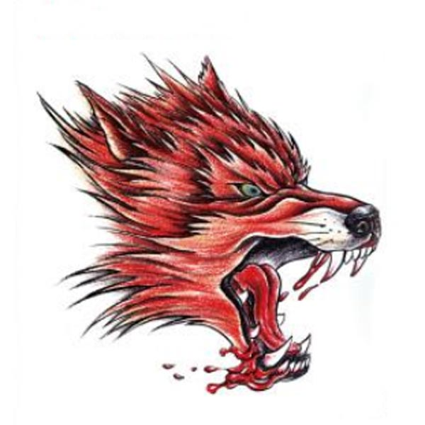YCTF PRINTING Temporary Red Wolf Head Tattoo Transfer Body Art Sticker