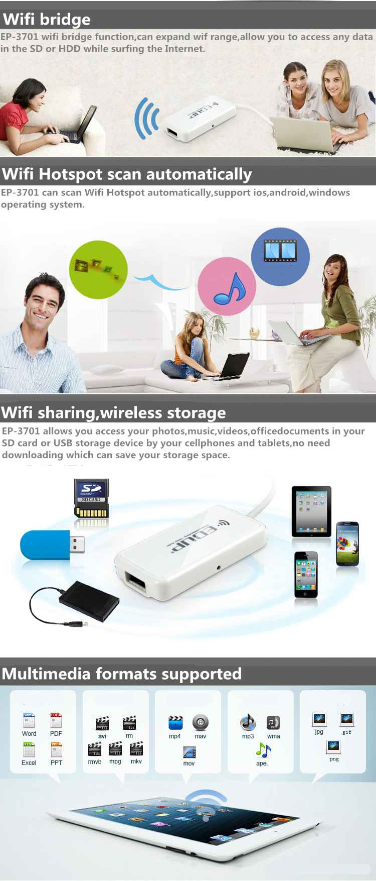 EDUP EP-3701 150M Wifi Sharing Wifi Bridge Wifi Storage Disk