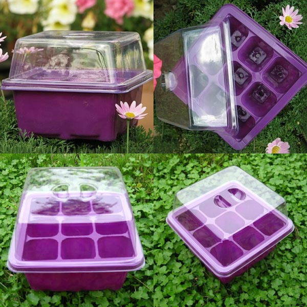 9 Holes Plastic Soil Grow Box Garden Seeds Germinate Boxes