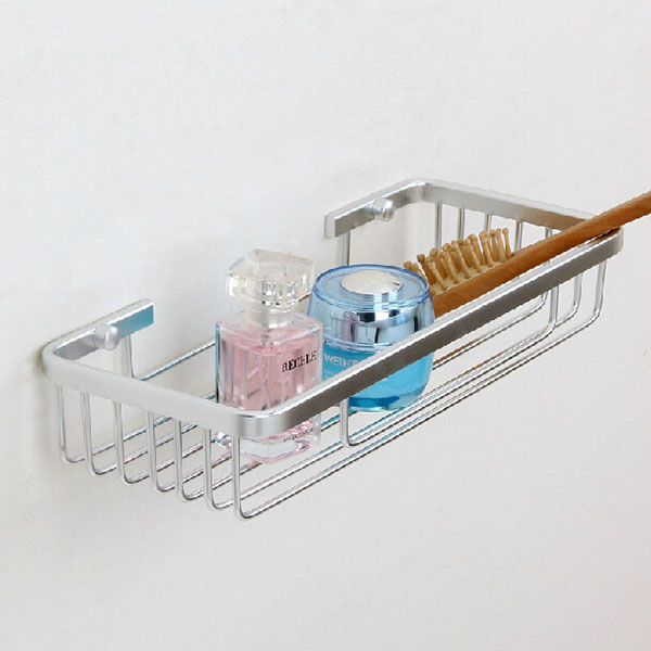Aluminum Single Layer Storage Rack Rectangle Bathroom Shelf