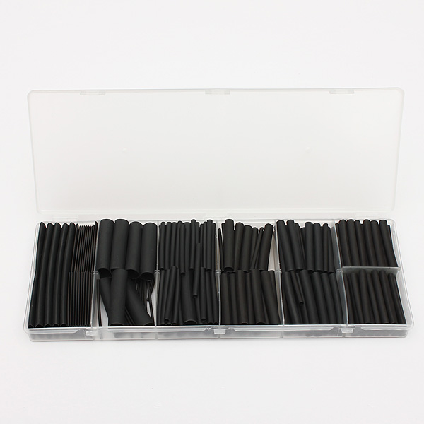 240 Pcs Black Polyolefin 2:1/3:1 Halogen-Free Heat Shrink Tubing Kit