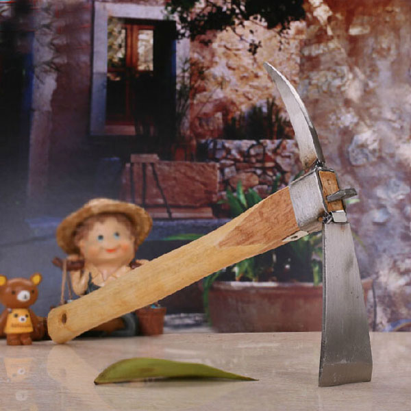 Wooden Handle Stainless Steel Garden Pickaxe Hoe Yard Planting Tool