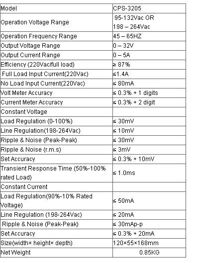 CPS-3205 0-32V 0-5A Portable Adjustable DC Power Supply 110V/220V