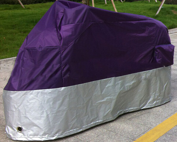 Motorcycle Cover Retail Waterproof UV Protection Purple+ Silver