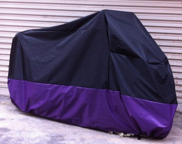 Motorcycle Cover Retail Waterproof UV Protection Black+ Purple