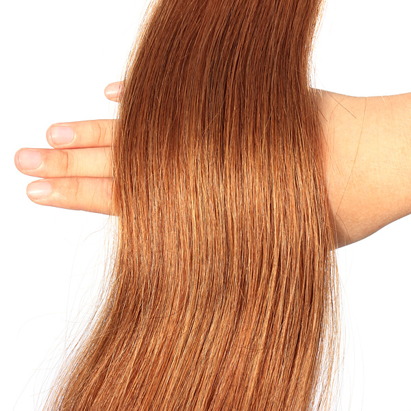 100PCS Light Auburn Straight Stick I-Tip Human Hair Pieces Extension