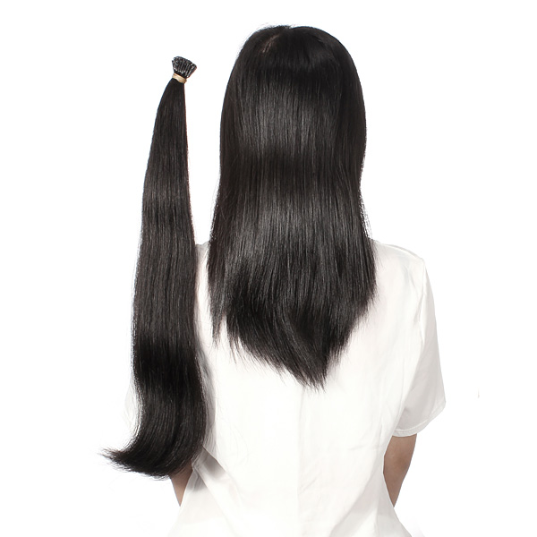 100PCS Natural Black Straight Stick I-Tip Human Hair Pieces Extension
