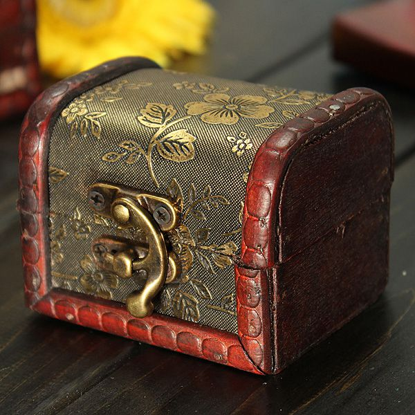 Retro Vintage Golden Flower Wooden Jewelry Storage Box Case