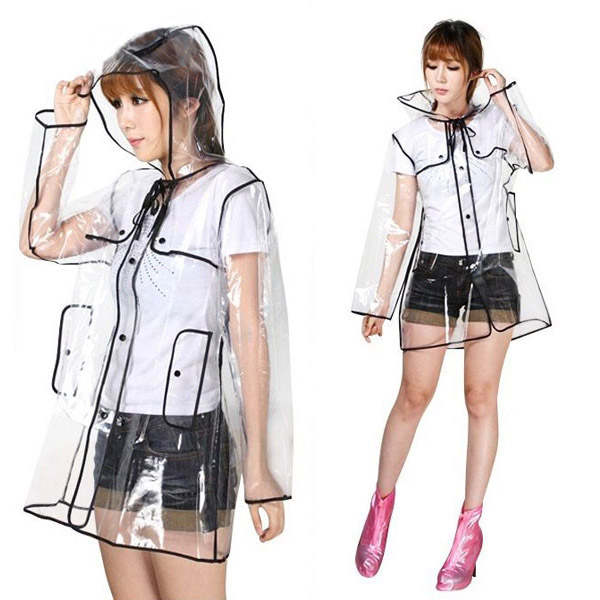 Women Raincoat Ladies Transparent Clear Cute Rain Coat PVC/Vinyl