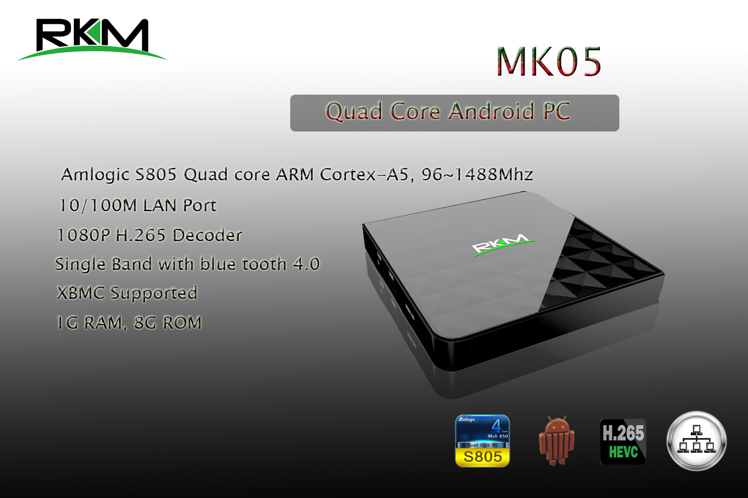 RKM MK05 Amlogic S805 Quad Core Android 4.4 Mini Desktop Computer