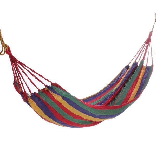 Portable Cotton Rope Hammock Swing Fabric Camping Hammock Canvas Bed