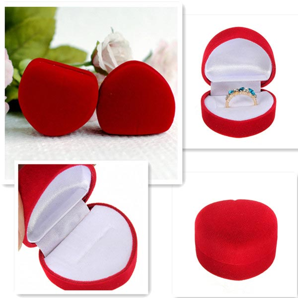 Luxury Red Velvet Heart Shaped Ring Jewelry Box Present Gift