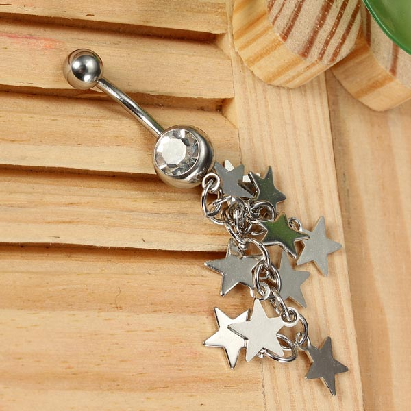 Star Tassel Chain Crystal Navel Belly Ring Body Jewelry Piercing