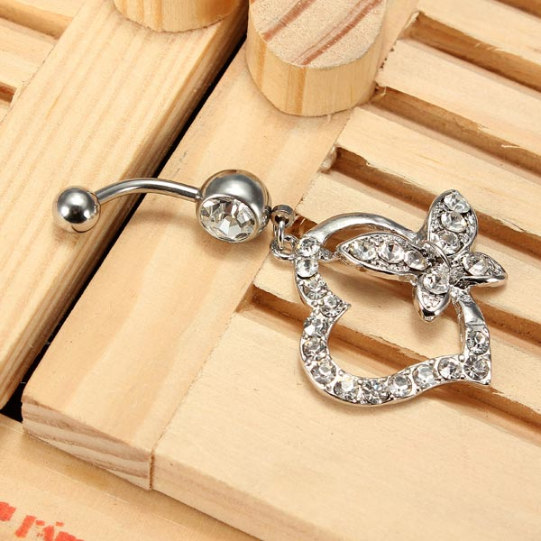 Crystal Heart Butterfly Navel Belly Ring Piercing Body Jewelry