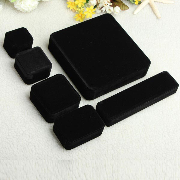Black Velvet Box Case Jewelry Display Ring Earrings Pendant Necklace