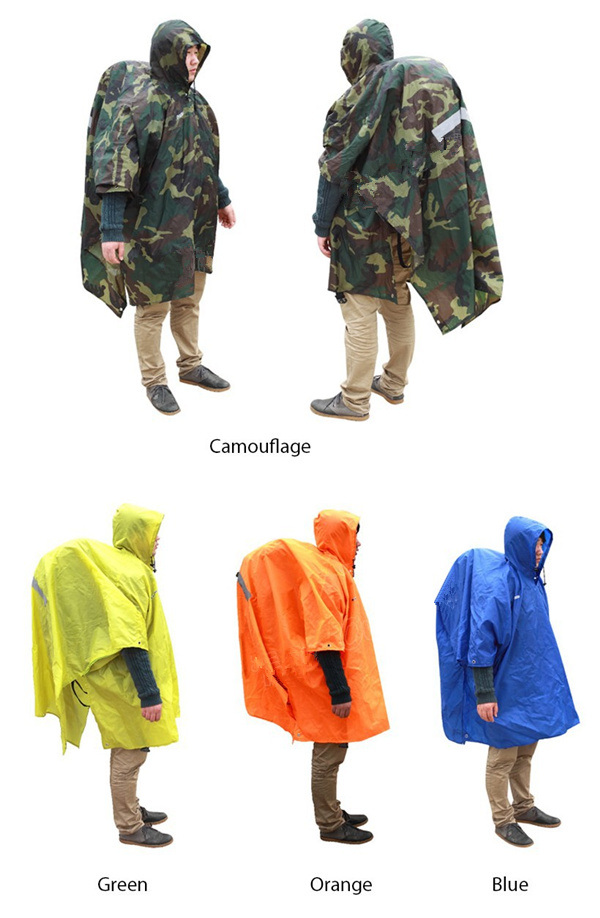 Hiking Raincoat Backpack Cover Ground Mat Reflective Poncho