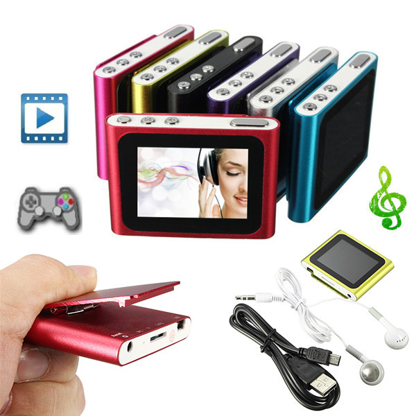 6th Gen 1.8 Inch LCD Clip FM Radio Video Mp3 Mp4 Player Support 4/8/16GB Micro SD/TF