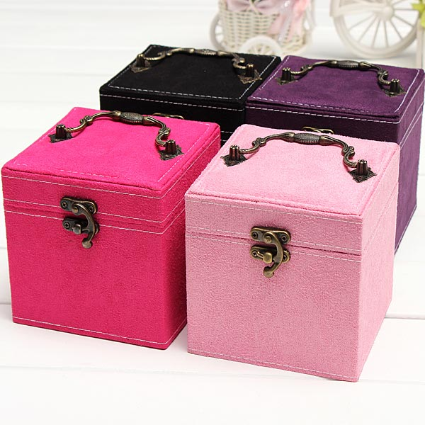 Vintage 3 Layers Velvet Jewelry Box Case Display Storage Container