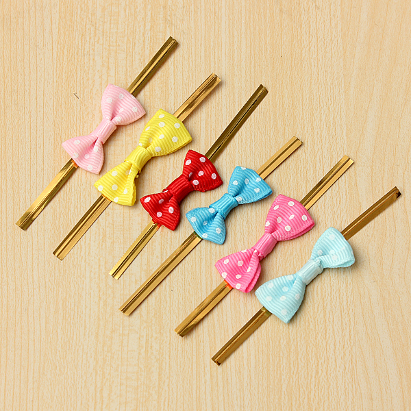20PCS Metallic Polka Dot Twist Wire Tie With Bow Candy Cookie Cake Bag