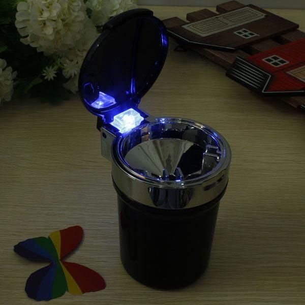 Car Travel LED Blue Light Cigarette Ashtray Portable Holder Cup Black