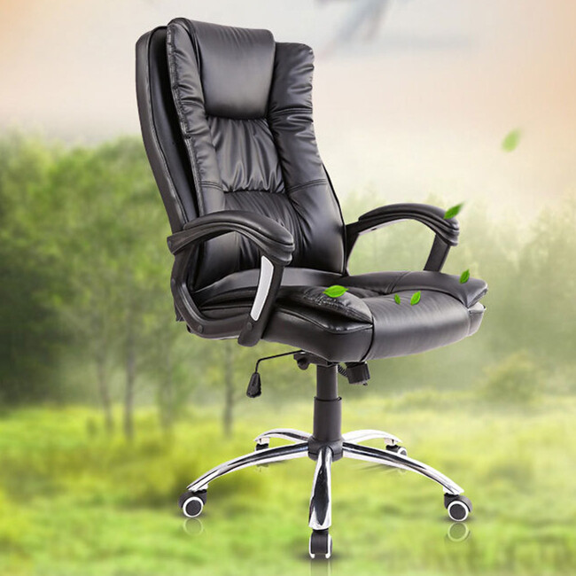 Rocking Office Chair Lift PU Swivel Chair US Warehouse