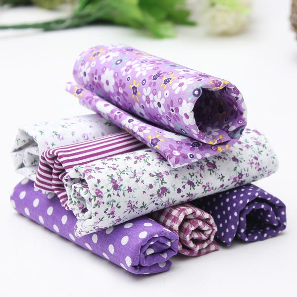 1 Set Purple 7 Assorted Striped Fabrics Charm Cotton Quilt