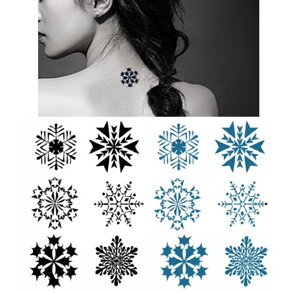 Temporary Snowflake Tattoo Transfer Body Art Sticker Waterproof