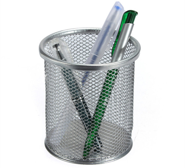 Silver Durable Office Desk Tidy Mesh Pen Pencil Holder Cup