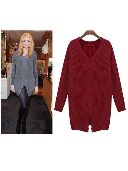 V-nek Thicken Loosen Pullover Sweater