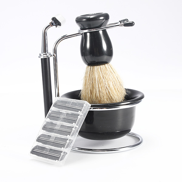 4 In 1 Men Beard Clean Kits Shaving Brush Dish Stand Shave Razor Set