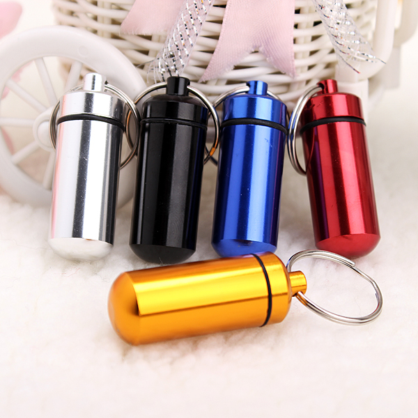 Waterproof Aluminum Pill Holder Keychain Bottle Container
